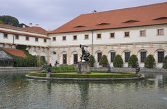 Pond from Wallenstein Palace courtyard from Prague in Czech Republic Royalty Free Stock Images
