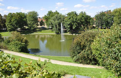 Pond from Wallenstein Palace courtyard from Prague in Czech Republic Royalty Free Stock Image