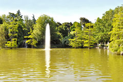 Pond with water spurt Stock Image