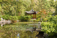 Pond with waterlilies and Chinese pavilion Royalty Free Stock Photos