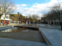 Pond in the Watford town centre. View to the pond in the Watford town centre. The Parade, shopping street extending to the distance Stock Photography