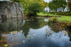 Pond. At a white mansion Royalty Free Stock Images