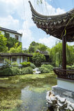Pond and winding long corridor and pavilion Stock Images