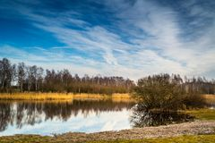 Pond in a winter, snowless installment Royalty Free Stock Images