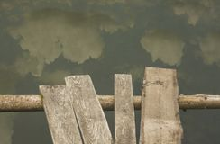 Pond. Wooden walkways over old green pond with clouds reflections Stock Photos