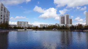 Pond in Zelenograd in Moscow, Russia stock footage