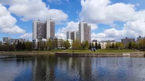 Pond in Zelenograd in Moscow, Russia stock video