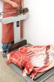 Ponderazione della carne immagine stock