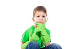 Ponderer small boy with Hand on the Face royalty free stock photography