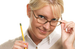 Pondering Beautiful Woman with Pencil Stock Photo