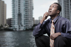 Pondering businessman Royalty Free Stock Photography