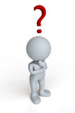 Pondering the Question. A roundheaded figure standing and pondering Royalty Free Stock Photo