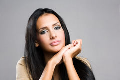 Pondering young beauty. Royalty Free Stock Image