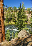 Ponderosa Pine and modern house. On hillside above canyon of Deschutes River,Central Oregon Stock Photo