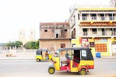 Pondicherry é o capital e a cidade a maior do território de união indiano de Puducherry fotos de stock royalty free