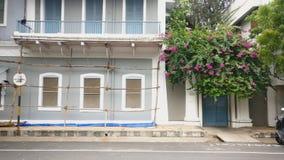 A Pondicherry Ashram Building renovation in French Colony, Pondicherry, India royalty free stock photo