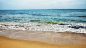 Pondicherry Auroville Beach Front View, Sea Waves and Skyline royalty free stock photography