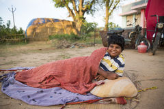 Pondicherry country, India - June 15 2014. Gipsy camp Stock Photography