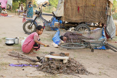 Pondicherry country, India - June 15 2014. Gipsy camp Royalty Free Stock Photo