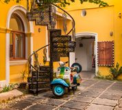 Pondicherry French architecture. Beautiful French styled houses in Pondicherry, India stock photo