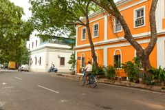 Pondicherry French colony street view. Beautiful French styled houses in Pondicherry, India royalty free stock photo