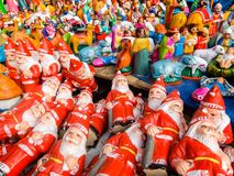 New year and christmas toys on the steet market in Pondicherry, India. stock photo