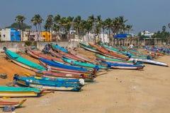 Fishermen village in Pondicherry, India. Pondicherry, India - December, 26th, 2017. View of fishermen village in Pondicherry stock images