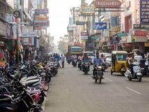 Street traffic in Pondicherry, India. Pondicherry, India - December, 26th, 2017. View of street traffic in Pondicherry stock images