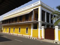 Pondicherry vit stad, fransk arkitektur arkivbild