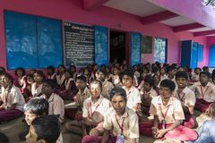Documentary editorial image. Meeting at the government school. PONDICHERY, PUDUCHERY, INDIA - SEPTEMBER 04, 2017. Outdoor meeting of the children of the school Royalty Free Stock Image