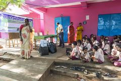 Documentary editorial image. Meeting at the government school. PONDICHERY, PUDUCHERY, INDIA - SEPTEMBER 04, 2017. Outdoor meeting of the children of the school Royalty Free Stock Images