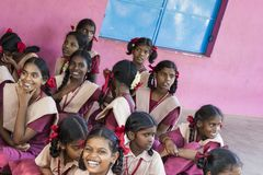 Documentary editorial image. Meeting at the government school. PONDICHERY, PUDUCHERY, INDIA - SEPTEMBER 04, 2017. Outdoor meeting of the children of the school Stock Images