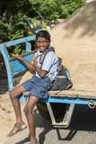 Documentary editorial image. Child goes to school. PONDICHERY, PUDUCHERY, INDIA - SEPTEMBER 04, 2017. Unidentified children go to school with uniform dress Stock Images