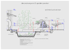 Free Pondless Waterfall Detailed Scheme Drawing Stock Photos - 71237363