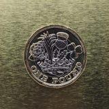 1 pondmuntstuk, het Verenigd Koninkrijk over goud Royalty-vrije Stock Fotografie