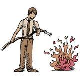 Pondo para fora o fogo Fotografia de Stock