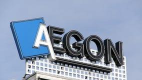 Pone letras al aegon en un edificio en Amsterdam Imagen de archivo libre de regalías