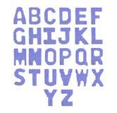 Pone letras a alfabeto inglés Color azul marino Foto de archivo libre de regalías