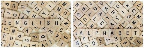 Pone letras a aprendizaje del alfabeto del bloque de madera Imagen de archivo