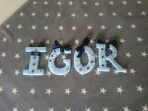 Pone letras a Igor foto de archivo