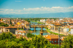 Pone Vecchio over Arno river in Florence, Italy Royalty Free Stock Photos