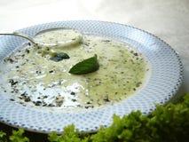 _ poner crema sopa Fotografía de archivo libre de regalías