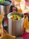 _ poner crema sopa con seta Fotos de archivo