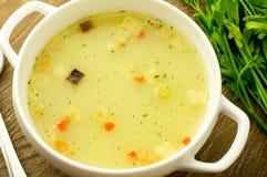 _ poner crema sopa con seta Fotos de archivo libres de regalías