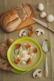_poner crema sopa con seta Fotografía de archivo