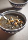 _ poner crema sopa con seta Imágenes de archivo libres de regalías