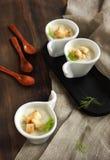 _poner crema sopa hinojo Imagen de archivo libre de regalías