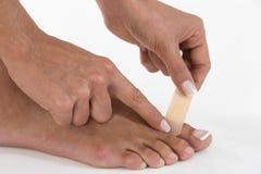 Poner el pulgar del vendaje a pie Fotografía de archivo