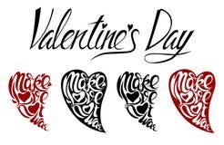 Poner letras al día de tarjeta del día de San Valentín bajo la forma de corazones stock de ilustración