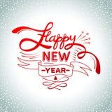 Poner letras a Feliz Año Nuevo Bola de Navidad en fondo de la nieve Tarjeta de felicitación del vector del día de fiesta ilustración del vector